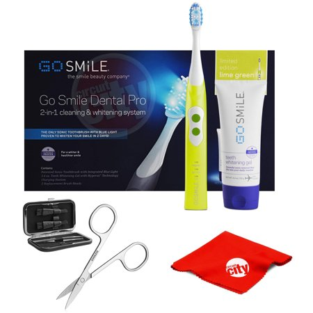 Blue Deluxe Cloths (Go Smile Dental Pro Sonic Blue Toothbrush with Deluxe Travel Grooming Kit & Cleaning Cloth Lime)