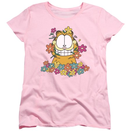 Trevco GARFIELD IN THE GARDEN Pink Adult Female T-Shirt](Adult Female)