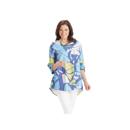 Women's Cowl Neck Tunic Top - Blue Butterfly Wings Print 3/4 Sleeves Blouse ()