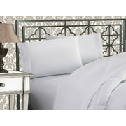 Elegant Comfort®  Silky-Soft 1800 Series  - Wrinkle-Free 4-Piece Bed Sheet Set, Deep Pocket up to 16 inch, Queen White