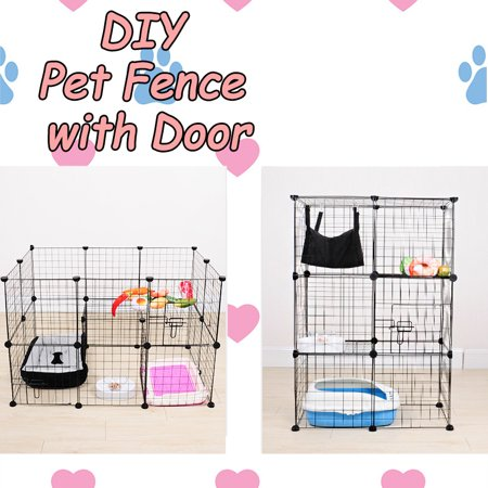DIY Pet Cats Dogs House Indoor Fence Cage Combination Assembly Steel Wire Mesh Storage Box