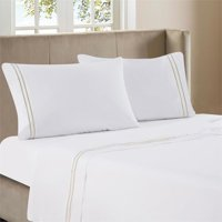 Luxen Home 4pc Tan Line Embroidery on White 300TC Sateen Sheet Queen