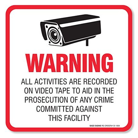 - (4 Pack) Warning Video Surveillance Sign/Decal Self Adhesive