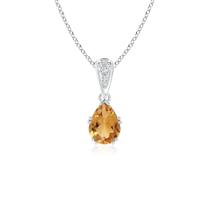 Angara Pear Shaped Citrine Pendant in 14k Yellow Gold bzKoIbA
