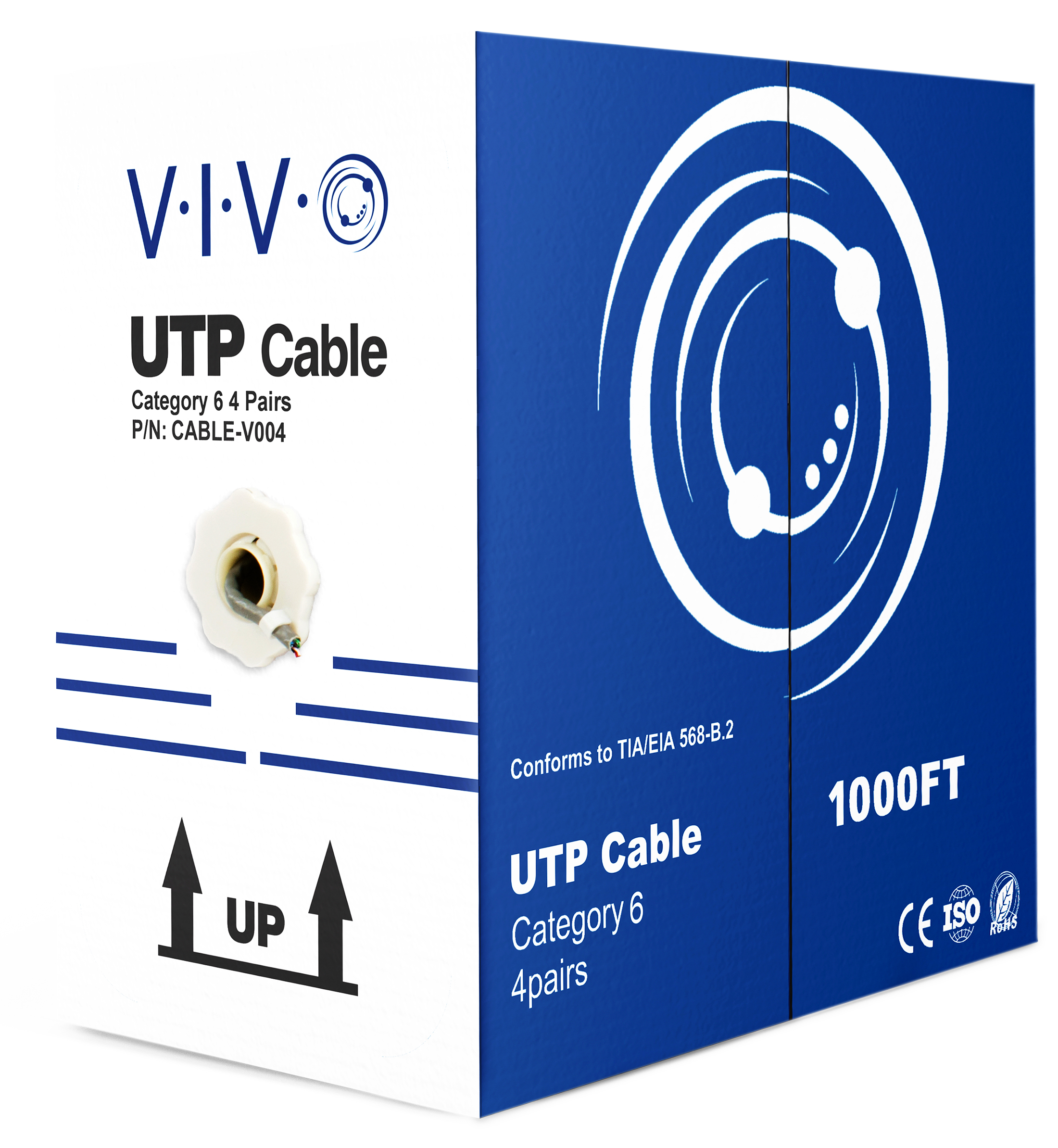 VIVO 1,000ft bulk Cat6 Ethernet Cable / Wire UTP Pull Box 1000 ft Cat-6 Grey (CABLE-V004)