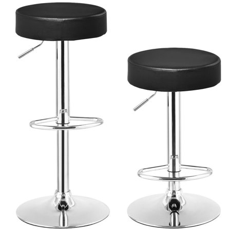 Round Bar Stools (Gymax Set of 2 Adjustable Round Leather Seat Hydraulic Swivel Bar Stool Black )