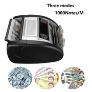 Money Counter with UV/MG/IR/DBL/HLF/CHN Counterfeit Detection - Bill Counting Machine - Large LED Display - 1,000 Bills/Min - Doesn't Count Value - 1-Year Warranty