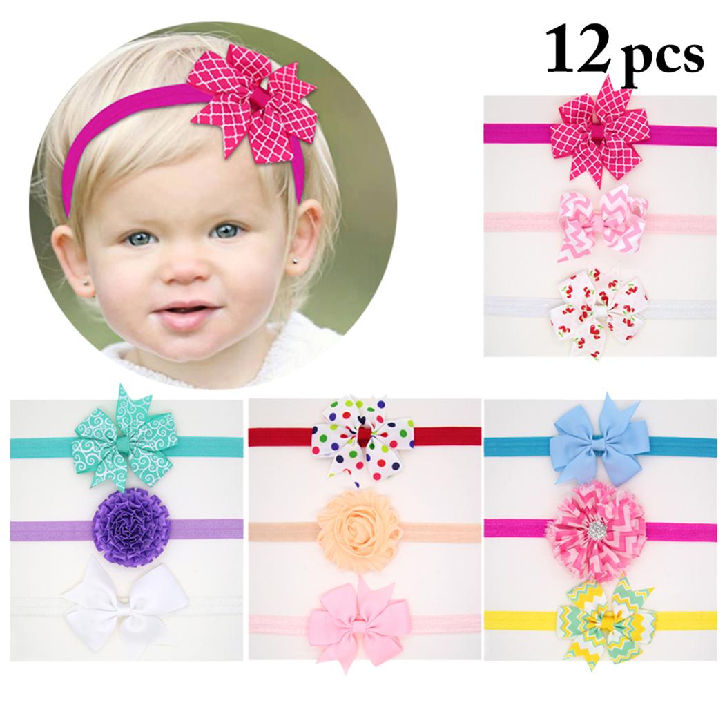 12pcs Baby Headbands Justdolife Decorative Bowknot Colorful Baby