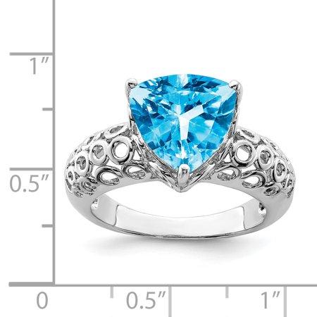 Sterling Silver Rhodium Blue Topaz Ring Size 7 - image 1 de 2