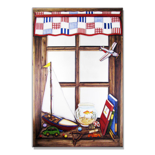 Stupell Industries Plane and Fish Bowl Faux Window Mirror