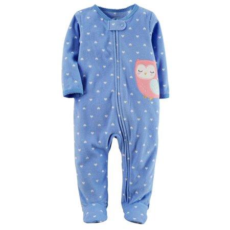 Carters Infant Girls Blue Fleece Heart Owl Sleeper Footie Pajama Sleep & Play Infant Sleeper Pajamas