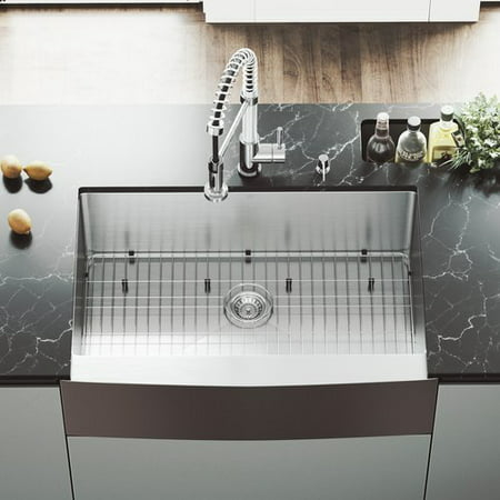 VIGO 33 L x 22 W Farmhouse Kitchen Sink with Edison Stainless Steel Faucet, Grid, Strainer and Soap Dispenser