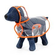 Foldable Waterproof Transparent Raincoat Rainwear Poncho Clothes Dress with Color Border for Puppy Dog Poodle Pet