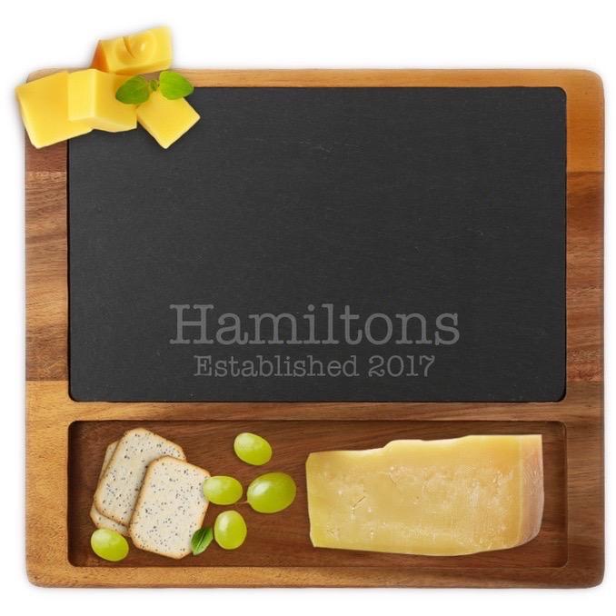 Custom Established Family Square Cheese Slate Board