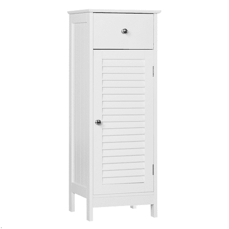 Wooden Storage Floor Cabinet with Drawer and Single Shutter Door for Bathroom, Living Room, White Single 12 Bass Speaker Cabinet