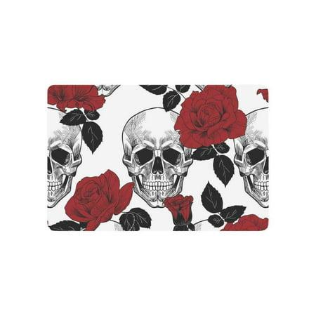 CADecor Sugar Skull Door Mat Home Decor, Red Rose Indoor Outdoor Entrance Doormat 23.6x15.7 Inches (Red Skull Iron Cross)