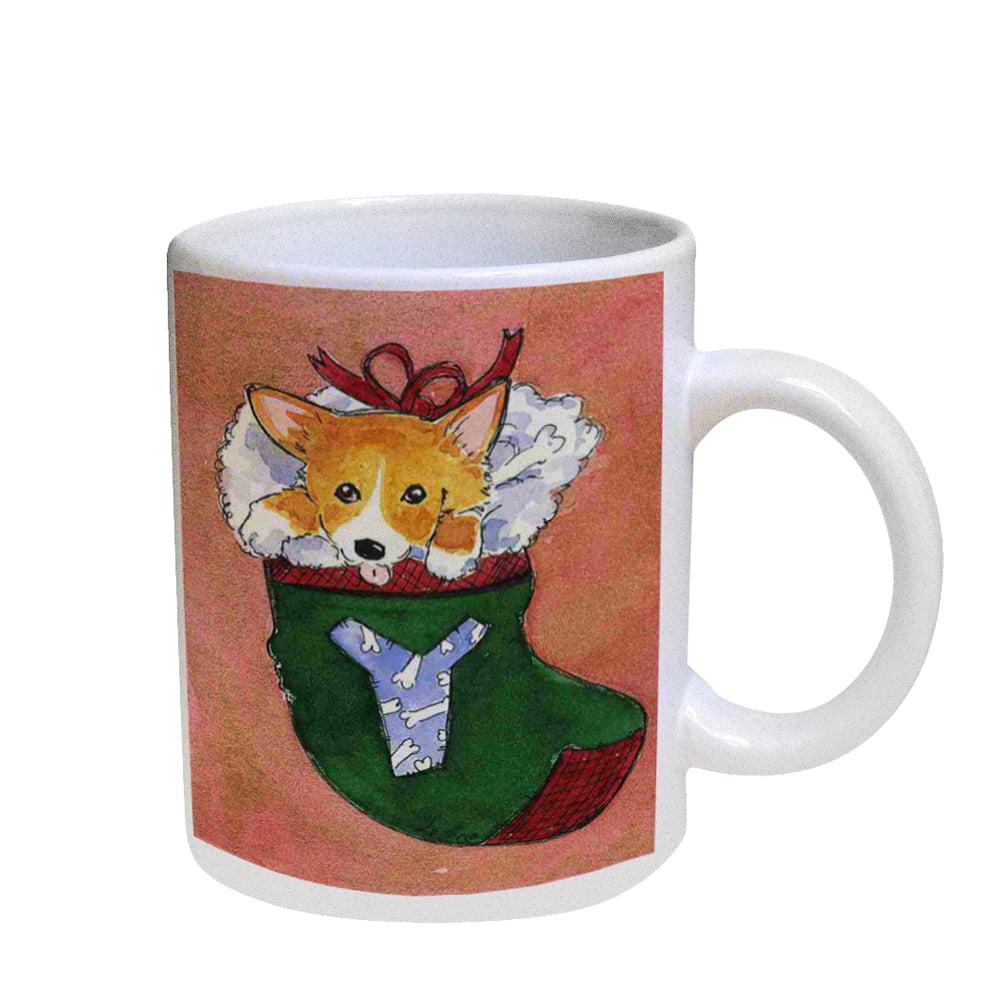 KuzmarK Coffee Cup Mug Pearl Iridescent White - Corgi Christmas Stocking JOY Set Y  Dog Art by Denise Every