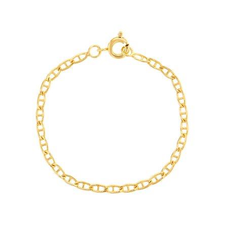 18k Gold Plated Classic Plain Mariner Link Chain Unisex Kids Bracelet 5
