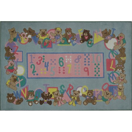 Supreme Teddy Center - Fun Rugs Supreme Teddies and Letters Gray Area Rug