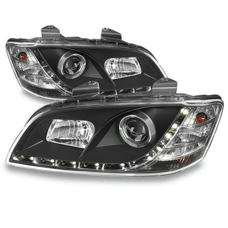Fits 08-09 Pontiac G8 Black Bezel DRL LED Strip Projector Headlights Front Lamps