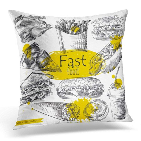 CMFUN Chalk Pizza of Fast Food White with Yellow Blots Sketch Retro Great for Voucher Coupon Vintage Chicken Pillow Case Cushion Cover 16x16 Inches - Toppers Pizza Coupon Code
