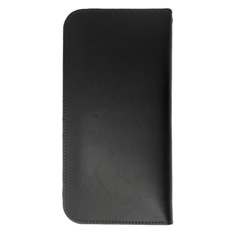 Insten Universal Leather Wallet Case with Card Slot For LG V20 V10 G Stylo LS770 Vista / Samsung Galaxy Note 5 4 3 Edge S6 Edge Plus / ZTE ZMax - Black - image 1 of 4