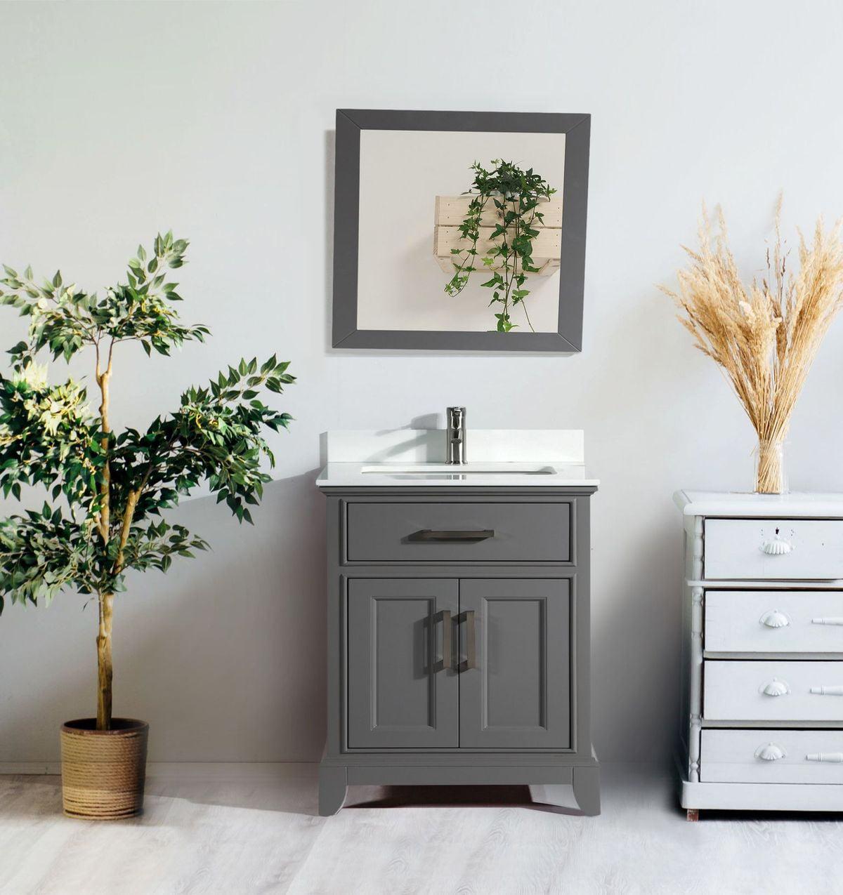 Vanity Art 30 Single Sink Bathroom Vanity Set Modern Carrara Marble Stone Top Under Sink Bathroom Floor Cabinet With Mirror Walmart Com Walmart Com