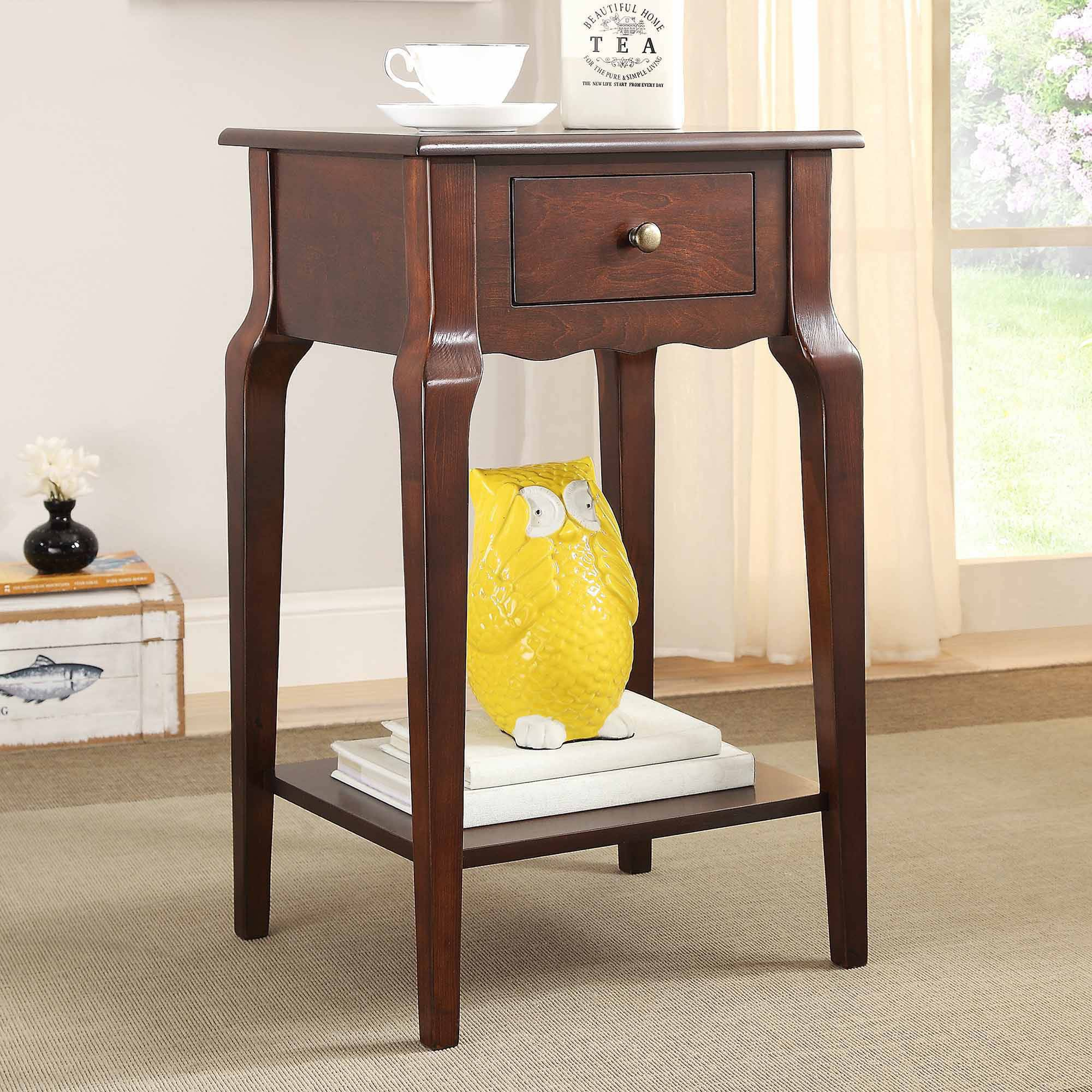 Weston Home Catalpa Wood End Table with Drawer, Multiple Finishes