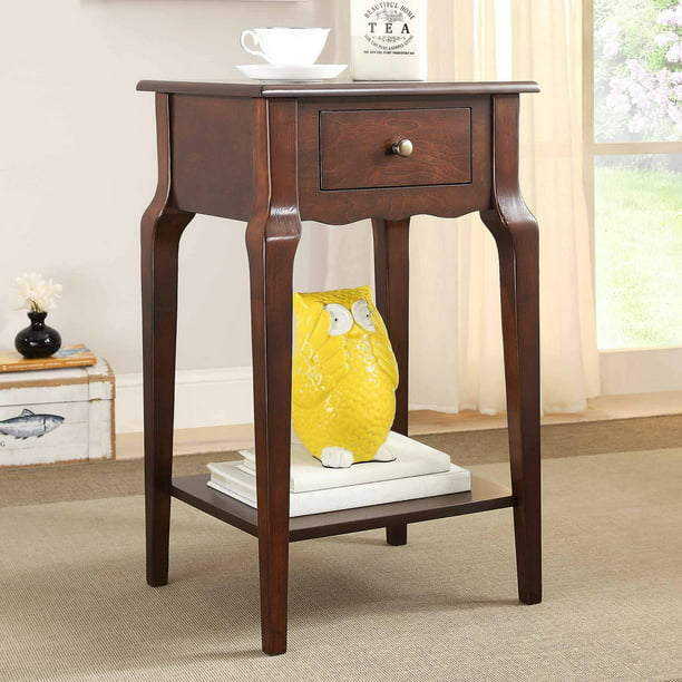 "Weston Home Catalpa 28"" High Wood End Table with Drawer and Shelf, Espresso"