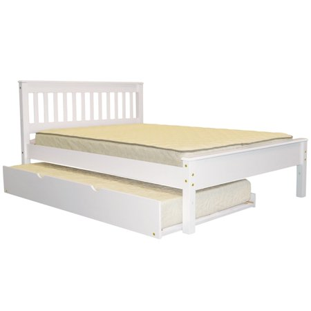 Bedz King  Mission Style Full Bed with a Twin Trundle, White ()