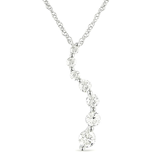 Miabella 1/4 Carat TDW Diamond Journey Pendant in 10kt White Gold