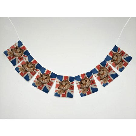 YKCG UK Union Jack Cat Kitten Banner Bunting Garland Flag Sign for Home Family Party - Union Jack Bunting