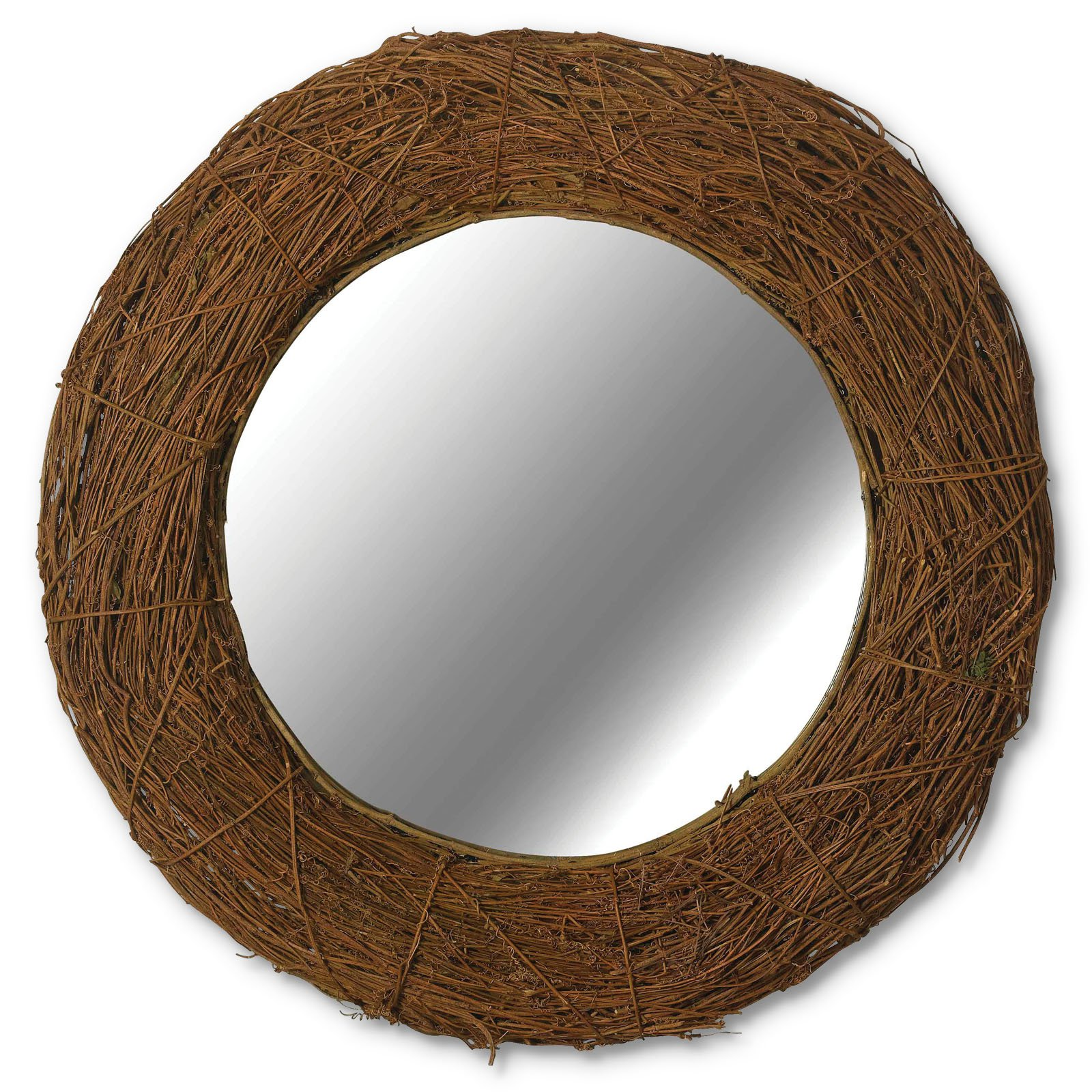 Harvest Natural Rattan Framed Wall Mirror - 32 diam.in.