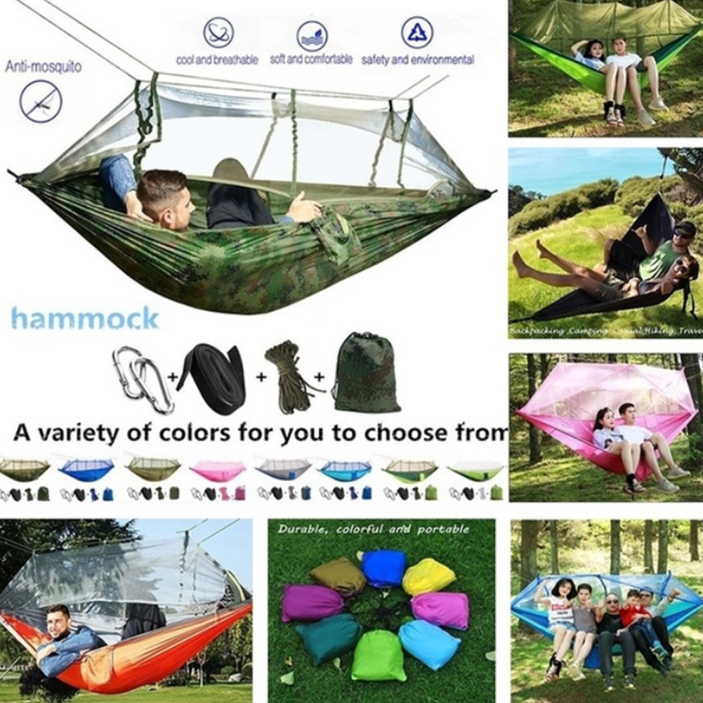 Portable Camping Hammock Tent Parachute W// Mosquito Net Tree Outdoor 1//2 Person
