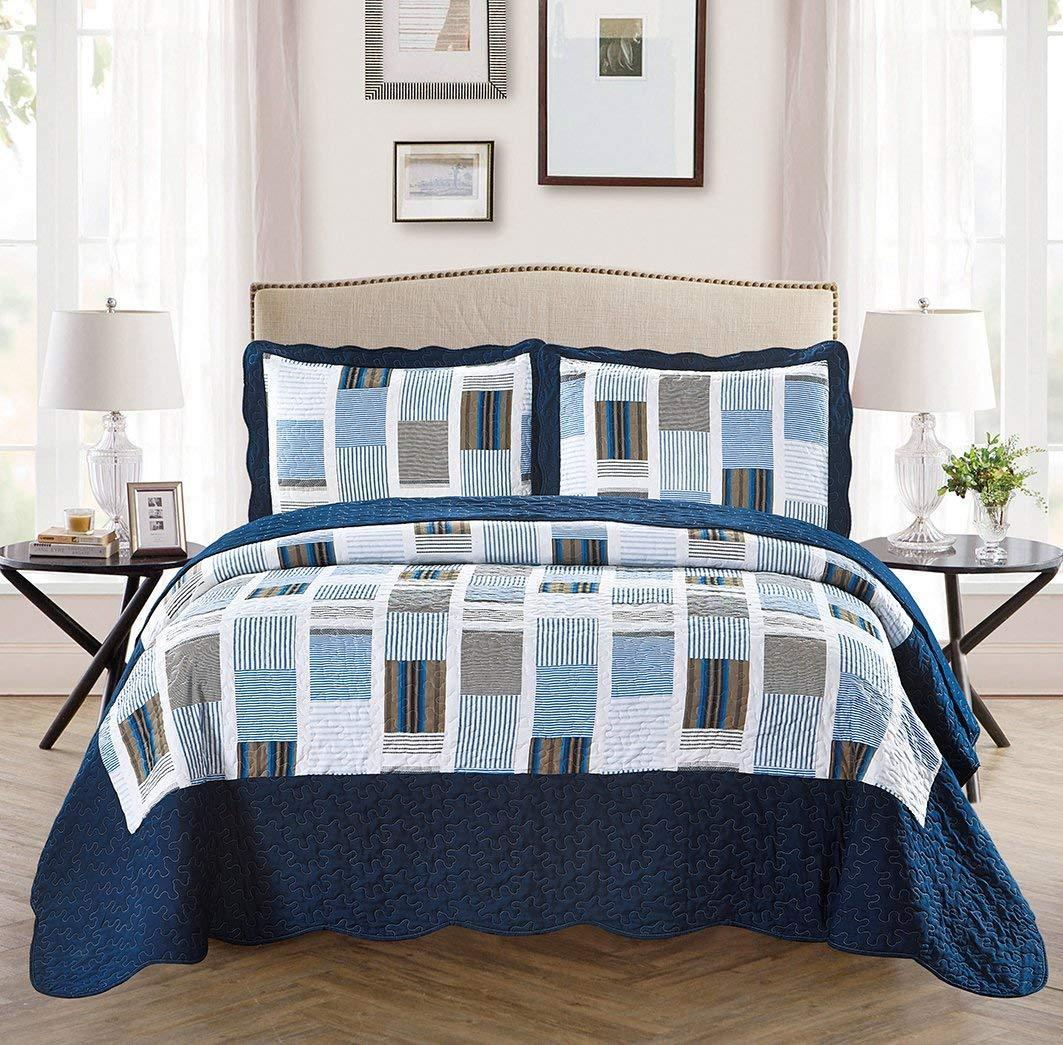 Fancy Linen 2pc Twin/Twin Extra Long Over Size Bedspread Stripes Squared Navy Blue White New # Terry