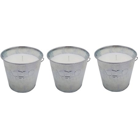 Citronella Bucket - Patio Essentials  3pk. Citronella Candle Galvanized Bucket; 17oz