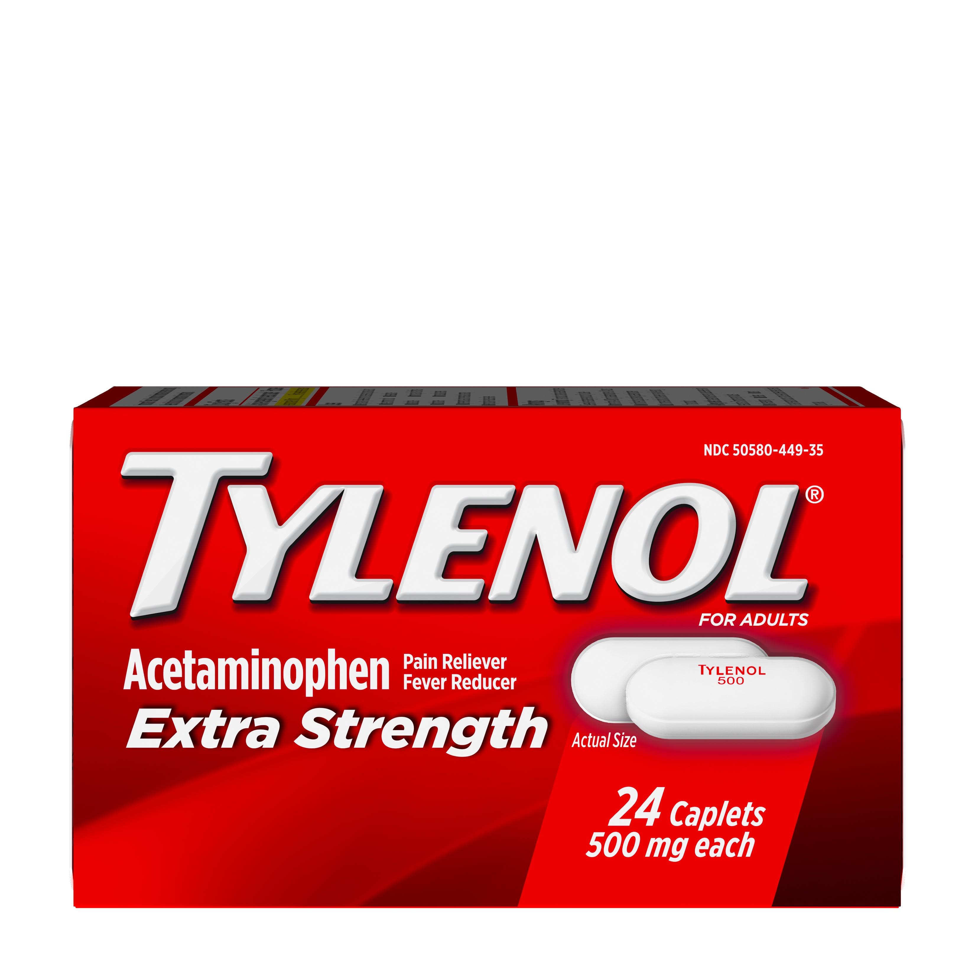 Tylenol Extra Strength Caplets With 500 Mg Acetaminophen 24 Ct Walmart Com Walmart Com