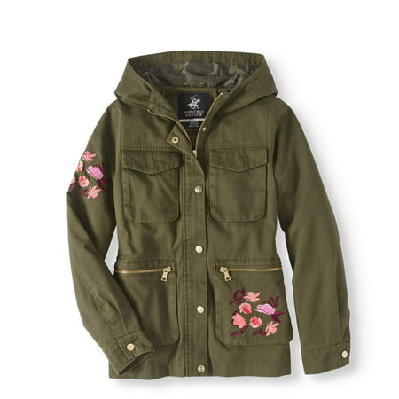 Girls' Embroidered Cotton Anorak Jacket