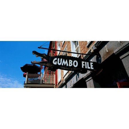 Outside Quarter Round (Signboard outside of a restaurant Gumbo File restaurant French Market French Quarter New Orleans Louisiana USA Canvas Art - Panoramic Images (36 x 12) )