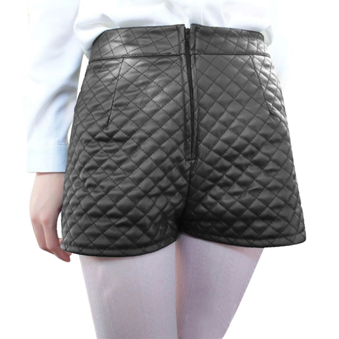 Unique Bargains Women's Diamond-Quilted Imitation Leather Casual Shorts