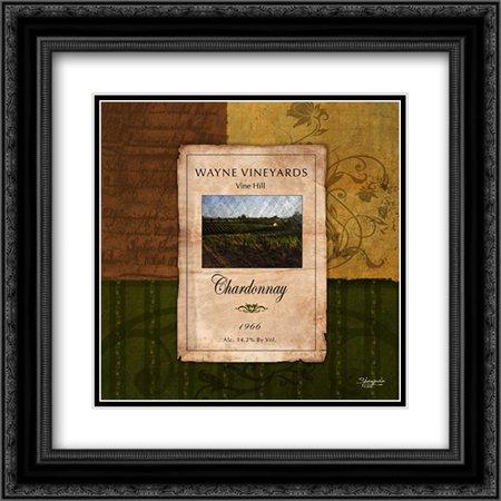 Chardonnay Wine Label 2x Matted 20x20 Black Ornate Framed Art Print by Eva, Shawnda