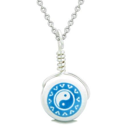 Lucky Ying Yang Balance - Handcrafted Cute Ceramic Lucky Charm Aqua Yin Yang Balance Amulet Pendant 18 Inch Necklace