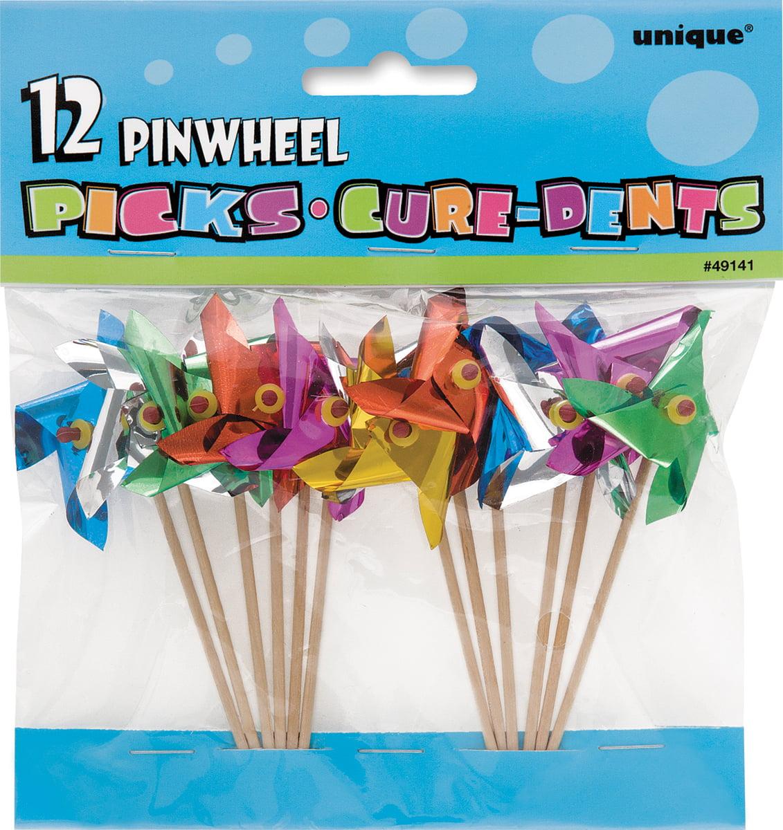 Pinwheel Toothpicks, 4 in, Assorted, 12ct