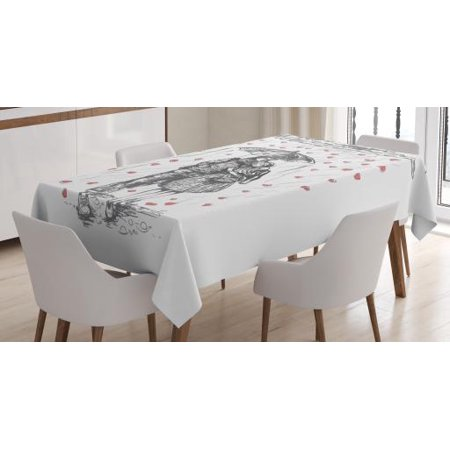 Heart Shape Drop (Boyfriend Tablecloth, Couple Walking Under Heart Shape Rain Drops with and Umbrella, Rectangular Table Cover for Dining Room Kitchen, 60 X 84 Inches, Charcoal Grey White and Coral, by Ambesonne )