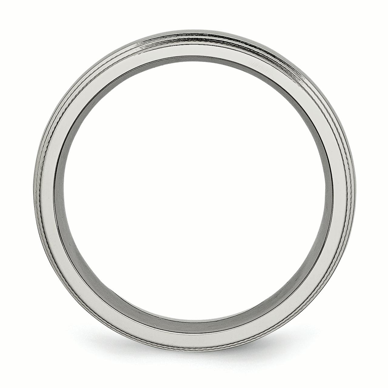 Titanium Grooved and Beaded Edge 6mm Polished Band Ring 8 Size - image 3 de 6