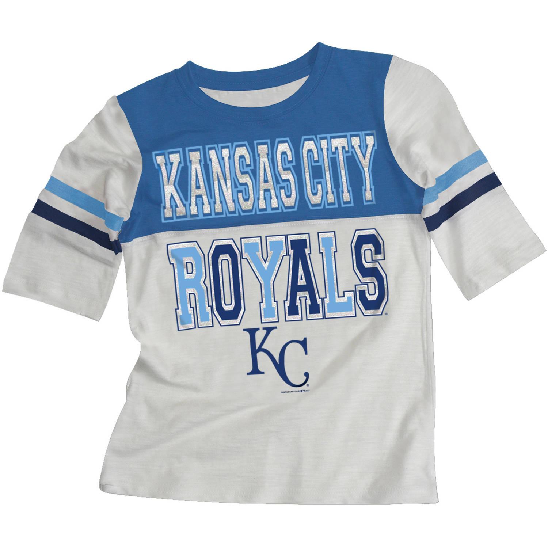 MLB Kansas City Royals Girls Short Sleeve White Graphic Tee
