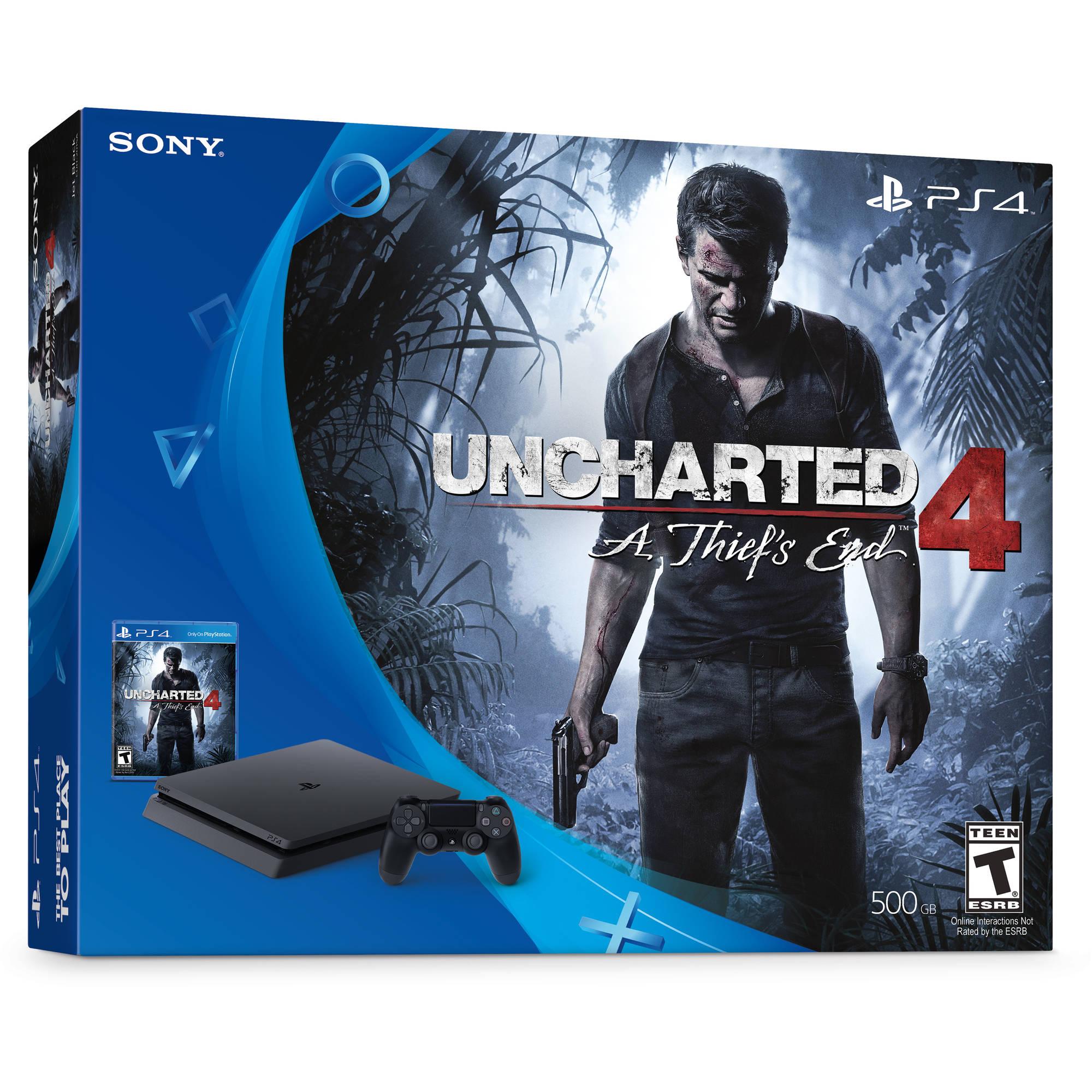 Sony PlayStation 4 Slim 500GB Uncharted 4 Bundle, Black, 3001504