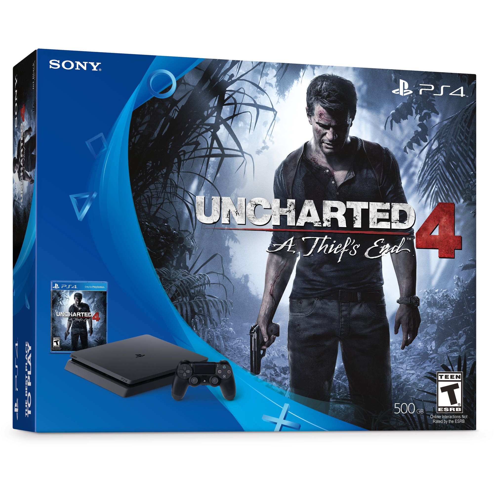PlayStation 4 Slim 500GB Uncharted 4 Bundle, Black, 3001504