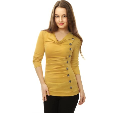 Women's Casual Pullover Cowl Neck Long Sleeve Side Ruched Tunic - Long Sleeve Ruched Tunic