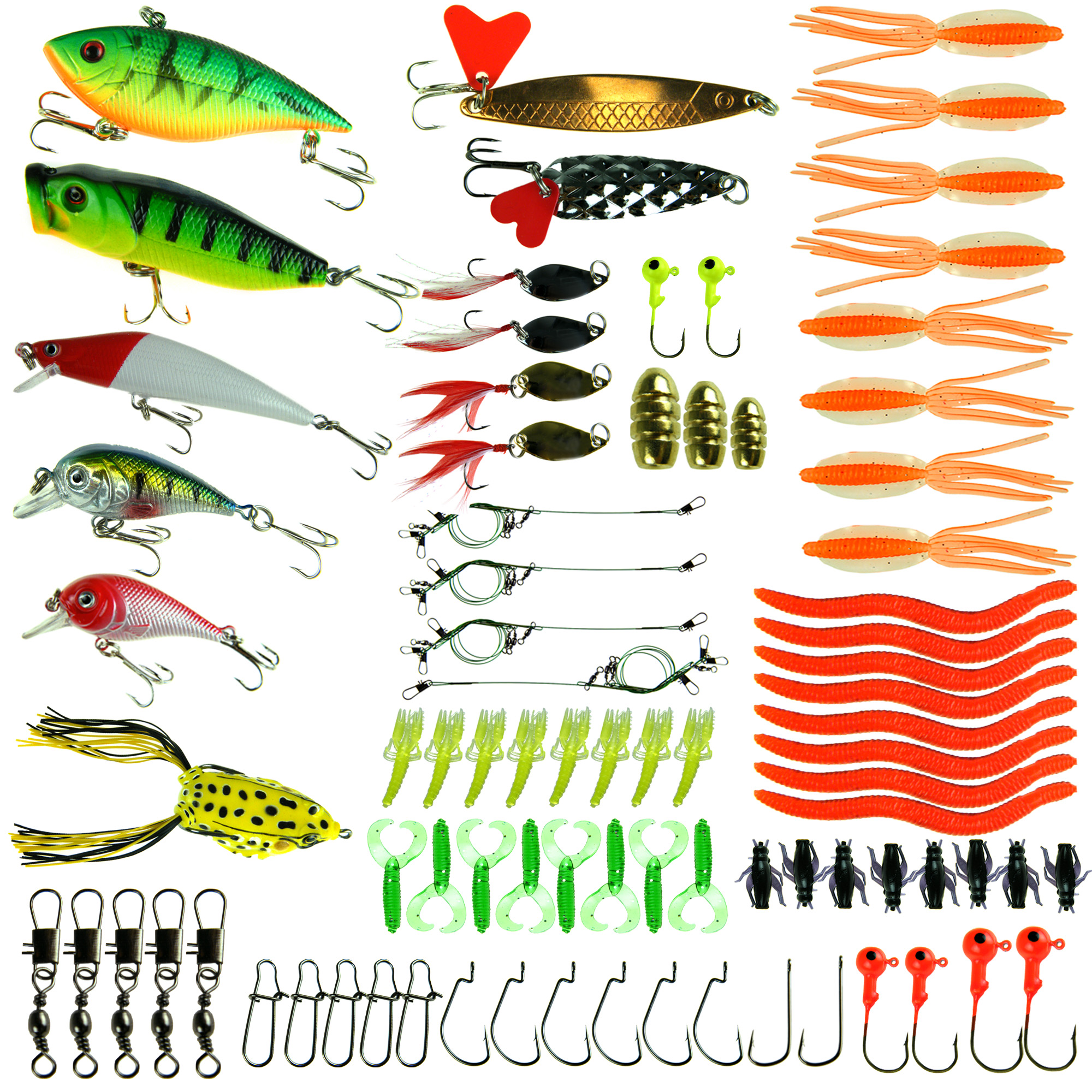 100 Pcs Fishing Lure Kit Soft Baits Insect Warms Lure Crankbaits Spinner Metal Spoon Lures Swivels Snaps Jig Head Hooks by